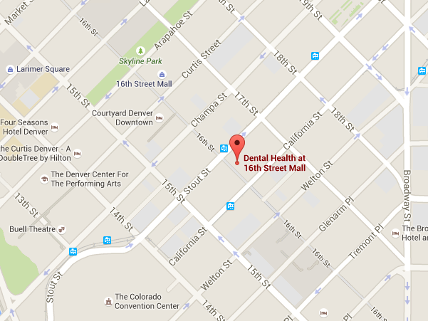 Map to Dental Health at 16th Street Mall
