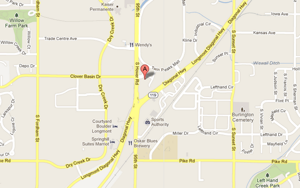 Map of our dentist in Longmont, CO.