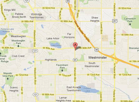 Westminster Dental Health.  Map to dentist in Westminster and Aurora.