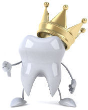 Funny picture of a tooth wearing a loos crown.