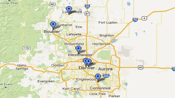 Map of Dental Health Colorado locations in Denver, 16th Street, DTC, Midtown, Westminster, Boulder and Longmont, CO.