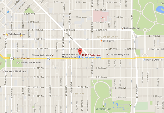 This map illustrates our location at 1245 E. Colfax Ave, Denver, CO 80218